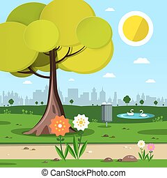 Park with Tree, Flowers and City Silhouette on Background