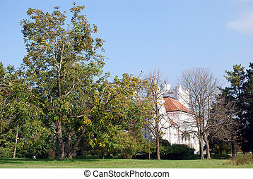 park with white castle landscape