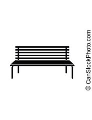 Park wooden bench icon isolated on white in flat style