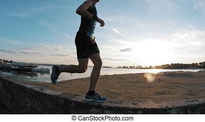 park, wyścigi, powolny-ruch, szczelnie-do góry, zachód słońca, człowiek