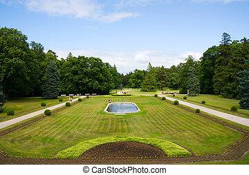 park, zomer, fontijn