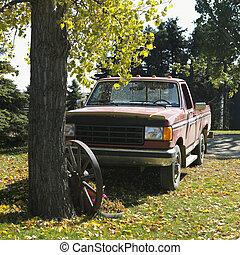 parked., caminhão, cima, pico