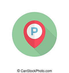 parked  flat color icon