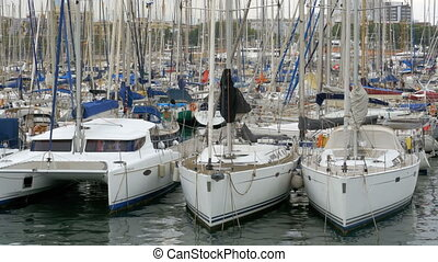 Parked Ships, Boats, Yachts in Rambla del Mar Port of...