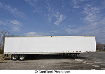 Parked trailer ready for pick up.