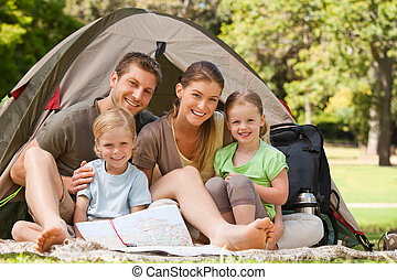 parkera, camping, familj
