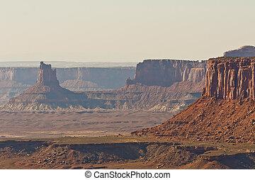 parkera, canyonlands, medborgare, terräng