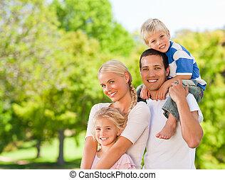 parkera, familj, lycklig