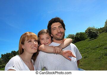 Parkera, ung, familj