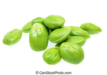 Parkia speciosa beans isolated on white background