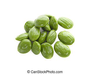 Parkia speciosa seeds or bitter bean isolated on white ...