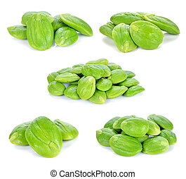 Parkia speciosa seeds or bitter bean on white background