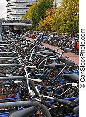 Parking a bike in Amsterdam
