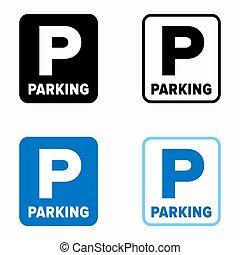 Parking area board information sign