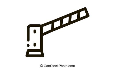 Parking Barrier Icon Animation. black Parking Barrier animated icon on white background