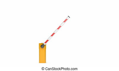 Parking barrier on white background, front view