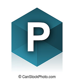 parking blue cube icon, modern design web element