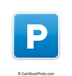 Parking Blue Glossy Sign on White Background. Vector