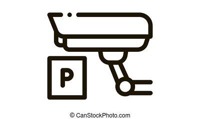 Parking Camcorder Icon Animation. black Parking Camcorder animated icon on white background