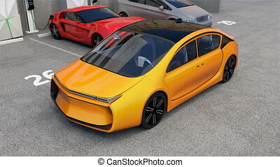 Parking car without driver inside - Yellow self-driving car...