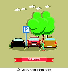 Parking concept vector illustration in flat style