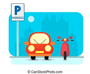 Parking concept with red Car and byke in flat style over city silhouette. Flat Illustration