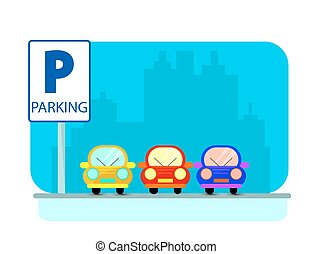 Parking concept with red Car in flat style over city silhouette. Flat Illustration