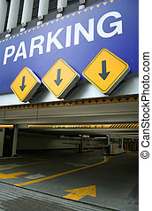 parking entrance with arrows