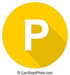 parking flat design yellow web icon