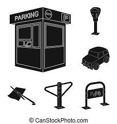 Parking for cars black icons in set collection for design. Equipment and service bitmap symbol stock web illustration.