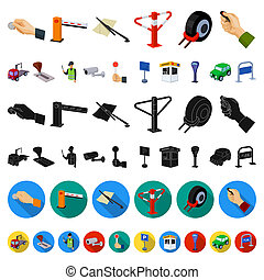 Parking for cars cartoon icons in set collection for design. Equipment and service bitmap symbol stock web illustration.