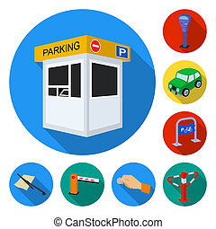 Parking for cars flat icons in set collection for design. Equipment and service bitmap symbol stock web illustration.