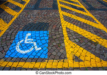 Parking for disabled - Parking for cars and signal for the...