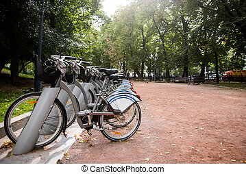 Parking for rental bicycles in the city park