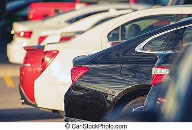 Parking Full of Modern Cars