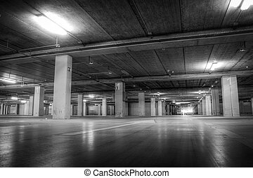 Parking Garage at the Airport in Black and White