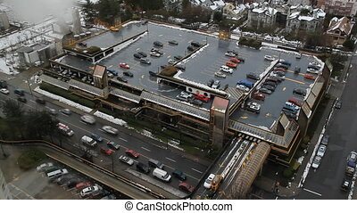 Parking Garage. Timelapse. - Aerial view of parking garage...