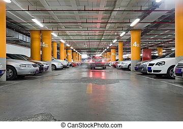 Parking garage, underground interio