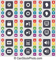 Parking, Gear, Silhouette, Lock, Scooter, Server, Cassette, Laptop, Sound icon symbol. A large set of flat, colored buttons for your design. Vector