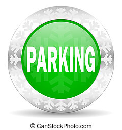 parking green icon, christmas button