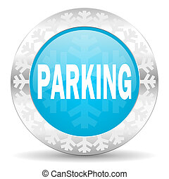 parking icon, christmas button