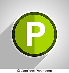 parking icon, green circle flat design internet button, web and mobile app illustration