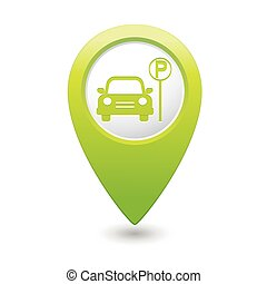 Parking icon on green map pointer