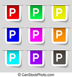 parking icon sign. Set of multicolored modern labels for your design.