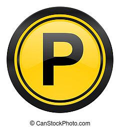 parking icon, yellow logo