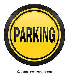 parking icon, yellow logo,