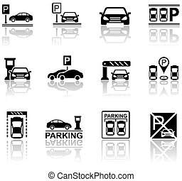 parking icons with reflection