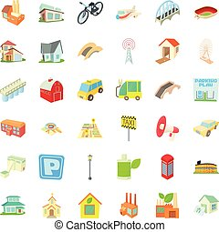 Parking in city icons set, cartoon style
