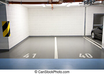 Parking in underground garage - Car parking in an ...