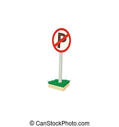 Parking is prohibited icon, cartoon style